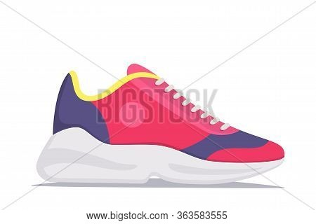Modern Trendy Sneakers, Side View. Fashion Sneakers. Comfortable Sports Shoes. Vector Illustration I