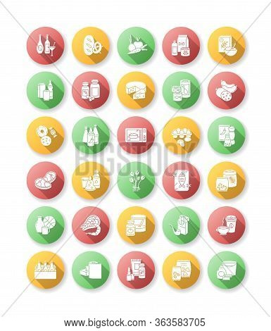 Groceries Category Flat Design Long Shadow Glyph Icons Set. Various Supermarket Food Sections. Drink