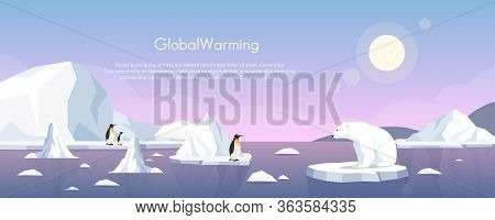 Global Warming Ice Landscape Vector Illustration. Cartoon Flat Penguins Group And Polar Bear Floatin