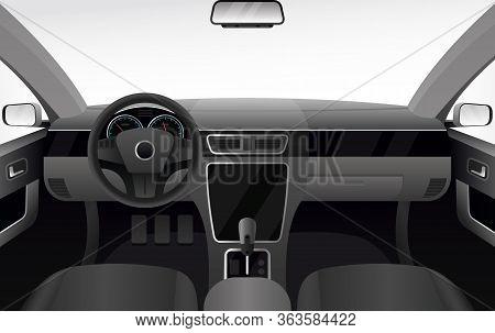 Car Dashboard, Auto Salon Interior Vector Illustration. Cartoon Flat Automobile Cabin With Windshiel
