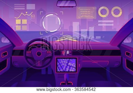 Futuristic Car Inside Interior Vector Illustration. Cartoon Flat Automobile Cabin Of Ui Future With