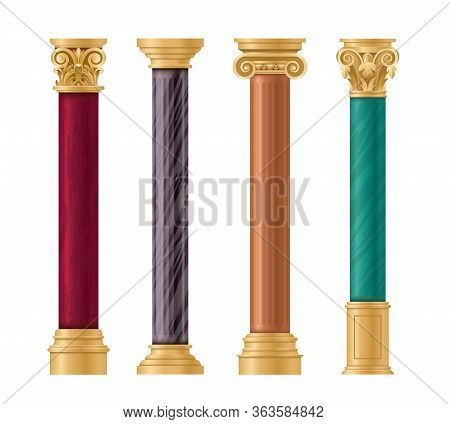 Pillars Vector Illustration Architectural Set. Classic Marble Column With Gold Pillar Decorations In