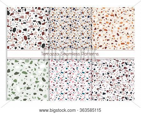Terrazzo Seamless Pattern Vector Illustration Set. Marble Mosaic Stone Texture For Floor Or Wall, Cl