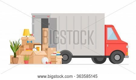 Box Delivery By Truck Vector Illustration. Cartoon Flat Courier Car Van Delivers Boxes Of Goods, Pac