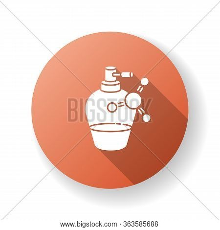 Liquid Keratin In Bottle Flat Design Long Shadow Glyph Icon. Chemical Formula With Vitamin Complex F