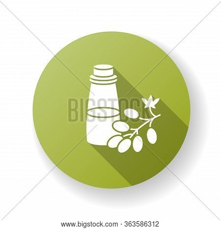Grapeseed Oil Green Flat Design Long Shadow Glyph Icon. Organic Ingredient For Haircare Product. Veg