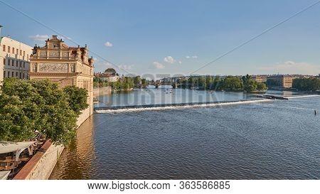 Prague summer, paddle boats on the river Vltava