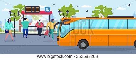 Bus Stop, Waiting People Passenger Vector Illustration. City Transportation, Public Transport Standi