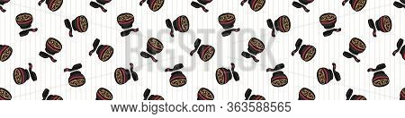 Kawaii Scattered Miso Soup Japanese Meal Seamless Vector Border. Hand Drawn Oriental Ramen With Nori