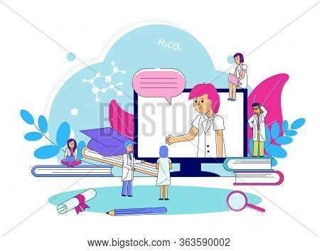 Medical Seminar Conference, Line Vector Illustration. Hospital Worker Congress Consultation By Netwo