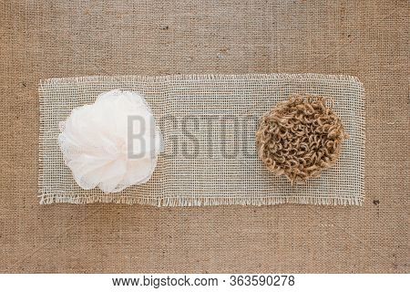 Comparison Of Natural Handmade Jute Washcloth For Washing Dishes Or Body And Usual Polipropilen Wash