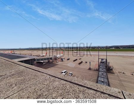 Stuttgart, Germany - September 22, 2019: Airplanes In Parking Position At Stuttgart Airport Infield,