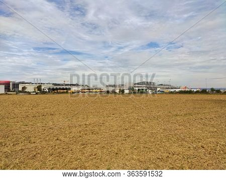 Stuttgart, Germany - September 22, 2019: Airport Stuttgart - View From Fields Around.