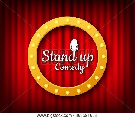 Stand Up In Flat Style On Red Background. Retro Microphone Icon. Mic Stand. Vector Stock Illustratio