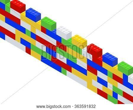 Construction Kit. Children Toy. Isometric Brick Wall.