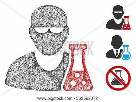Mesh Scientist With Flask Polygonal Web 2d Vector Illustration. Model Is Based On Scientist With Fla