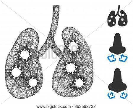 Mesh Viral Pneumonia Polygonal Web Icon Vector Illustration. Model Is Based On Viral Pneumonia Flat