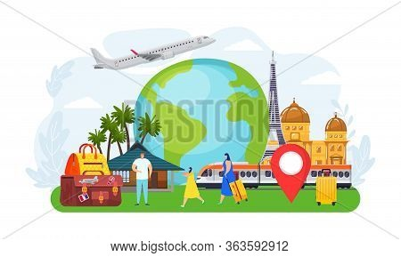 Travel Tourist People Concept, Vector Illustration. Adventure Around World, Tourism Vacation By Airp