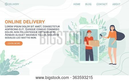 Curier Bring Order Through Smartphone For Customer. Online Shopping, Delivery Concept. Can Be Used F