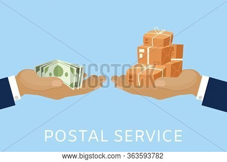 Post Service And Parcels Delivery Concept For Money With Postman Hands And Paying With Cash Dollars