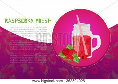 Raspberries Fresh Juicy Smoothie In Glass Jar With Berries And Leaves Circle Banner With Typography