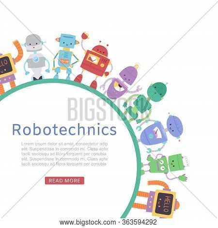Robotics With Cute Robots And Transformers Round Banner For Kids Lessons Vector Cartoon Toys Illustr