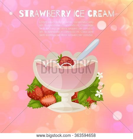 Strawberry Ice Cream With Fresh Berries Sorbet In Glass Mug On Vintage Rose Defokused Background Car