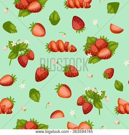 Strawberries Fresh Red Berries And Leaves Background Cartoon Seamless Vector Pattern Illustration. S