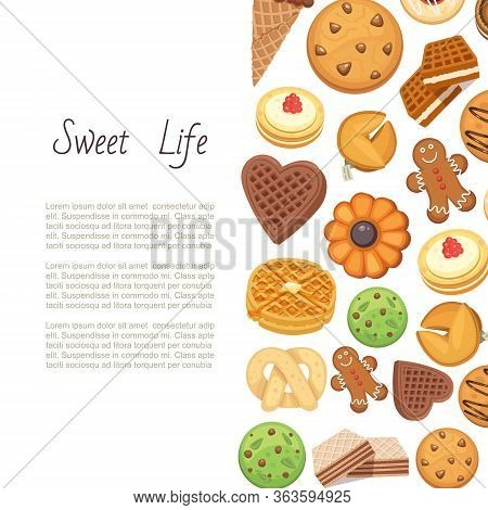 Sweet Life With Cookies Backgrund Of Different Chocolate And Biscuit Chip Cookies, Gingerbread And W