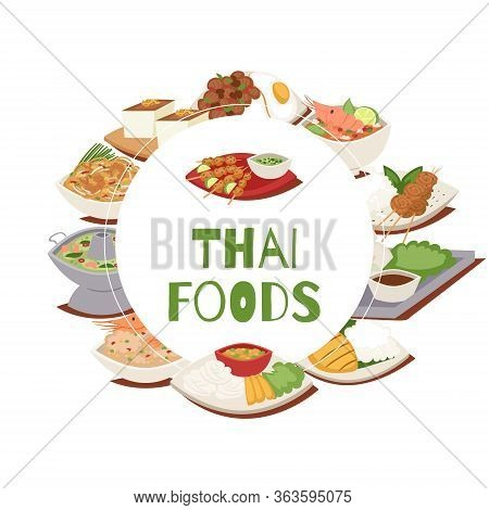 Thai Food Poster With Thailand Cuisine Vector Illustration, Tom Yam Goong, Asian Food , Thai Dishes.