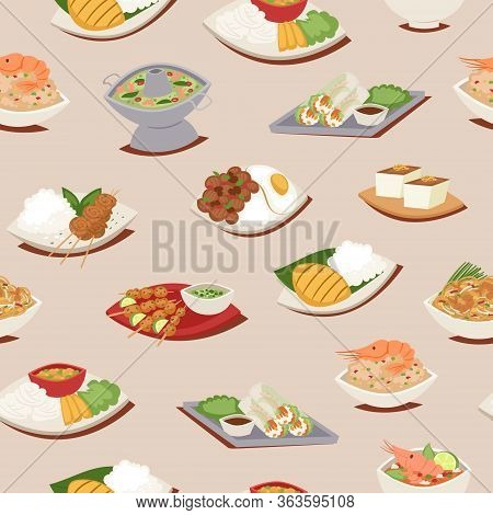 Thai Food Seamless Pattern With Thailand Cuisine Vector Illustration, Tom Yam Goong, Asian Food , Th