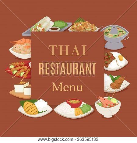 Thai Food Restaurant Menu With Thailand Cuisine Vector Illustration, Tom Yam Goong, Asian Food , Tha