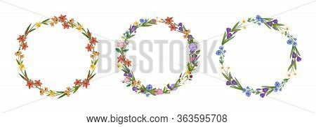 Floral Wreath Flowers Frame Collection Set Cartoon Vector Illustration. Flowers Arranged In Shape Of