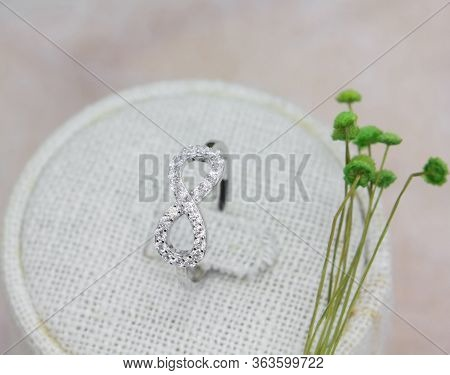 Elegance Infinity Shape Ring Decorated With Diamonds On Display Stand