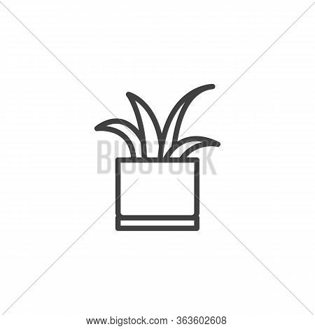 Tongue Plant Line Icon. Decorative Potted House Plant Linear Style Sign For Mobile Concept And Web D
