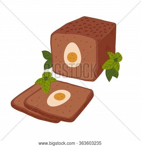 Meatloaf. Meat Delicatessen On White Background. Slices Baked Meatloaf With Boiled Eggs For Easter.
