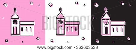 Set Church Building Icon Isolated On Pink And White, Black Background. Christian Church. Religion Of