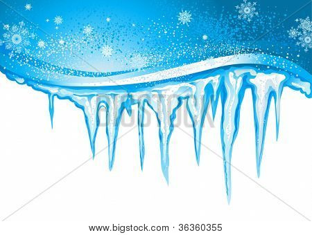 Winter background  with icicles
