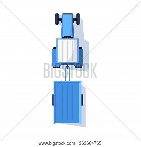 Tractor With Trailer Semi Flat Rgb Color Vector Illustration. Vehicle For Agronomy. Transport For Ha