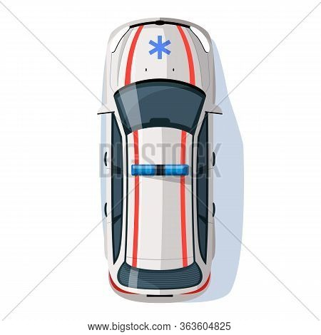 Paramedic Automobile Semi Flat Rgb Color Vector Illustration. First Medical Aid Auto. Emergency Help