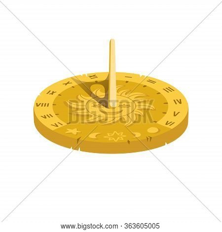 Vector Illustration Of A Sundial. Isolate Isomentic Volume Concept. Cartoon Sun Clock On A White Bac