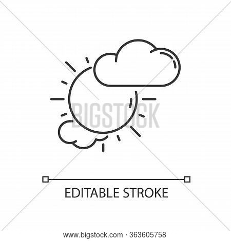 Partly Cloudy Pixel Perfect Linear Icon. Daytime Weather Forecast Thin Line Customizable Illustratio