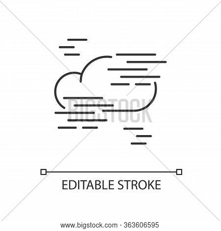 Fog Pixel Perfect Linear Icon. Foggy Weather, Meteorological Forecast Thin Line Customizable Illustr