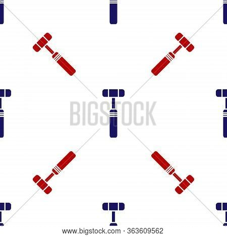 Blue And Red Neurology Reflex Hammer Icon Isolated Seamless Pattern On White Background. Vector Illu