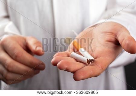 Doctor Holds A Broken Cigarette In His Hand. Harm From Smoking. Lung Cancer Disease Harm From Nicoti