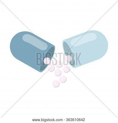 Blue open capsule poured granules on an isolated white background. Flat design website, logo. Health concept of pain medication pain treatment and pain supplement. Vector stock illustration.