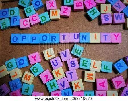 Opportunity word from colorful alphabet block
