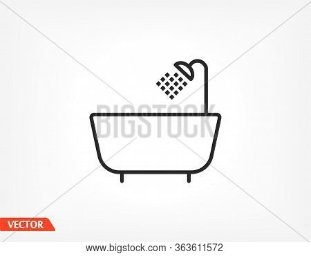 Shower Room Black Vector Icon Line Linear Style On The Background. Best Icon 10 Eps Illustration