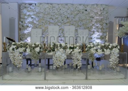 Wedding Table With Nice Design Flowers And Candles