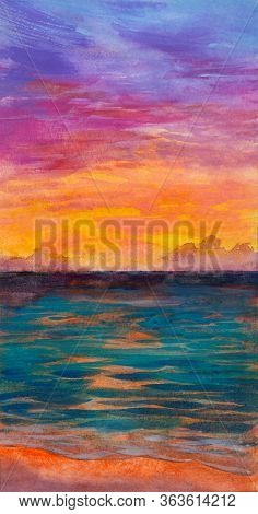 Watercolor Hand Drawn Illustration, Sea Landscape Sunrise Over Sea. Positive Mood And Bright Colors.